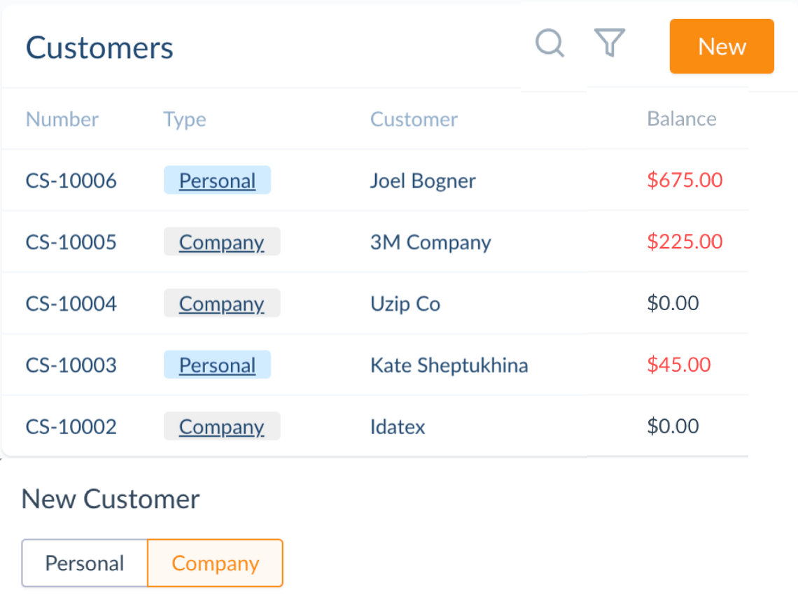 list of customers in invoicing software