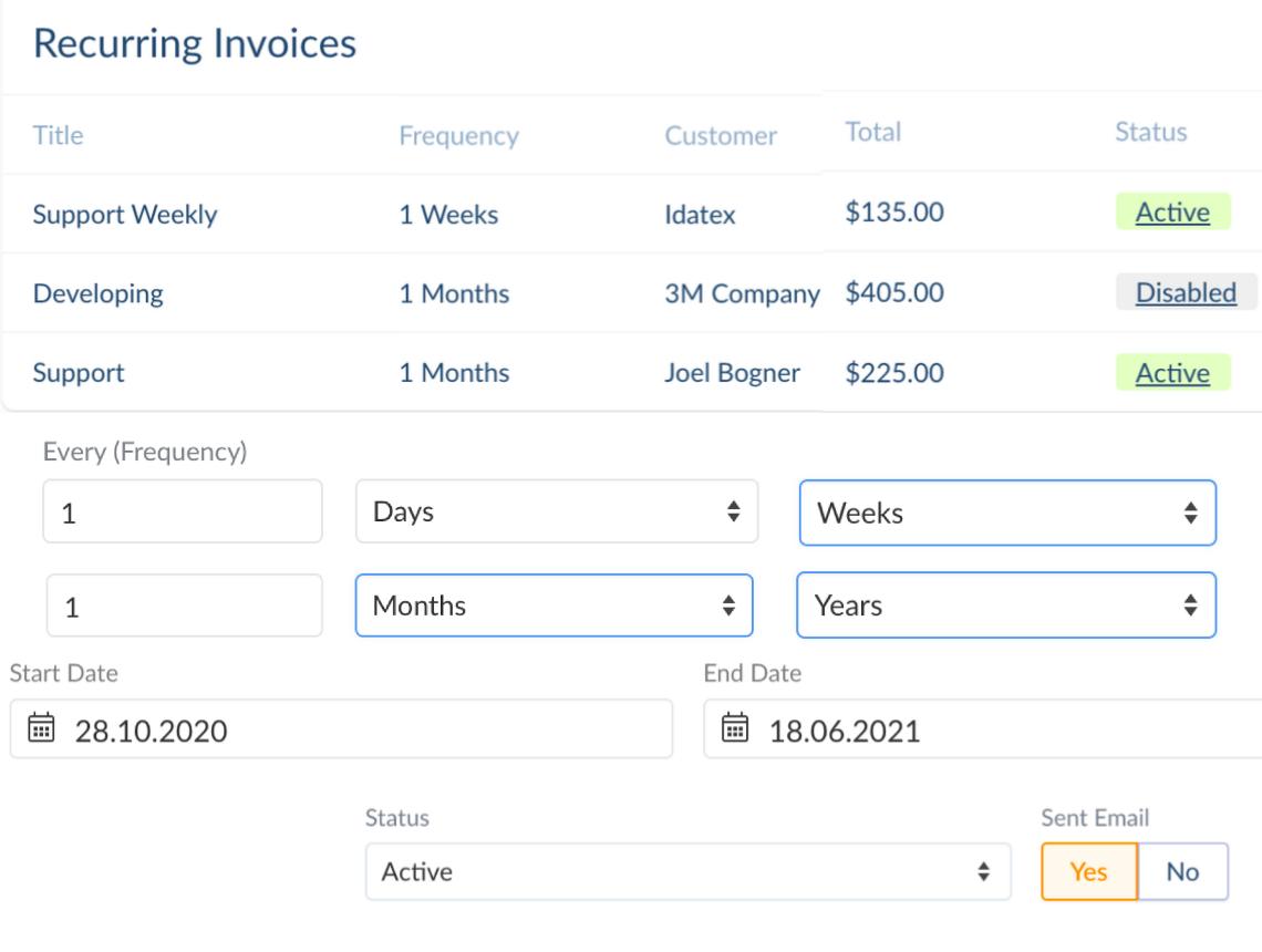 online recurring invoice